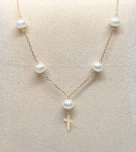 5-6 MM Freshwater Pearl Necklace with 14K Cross