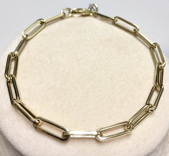 14k Yellow Gold Paperclip Bracelet