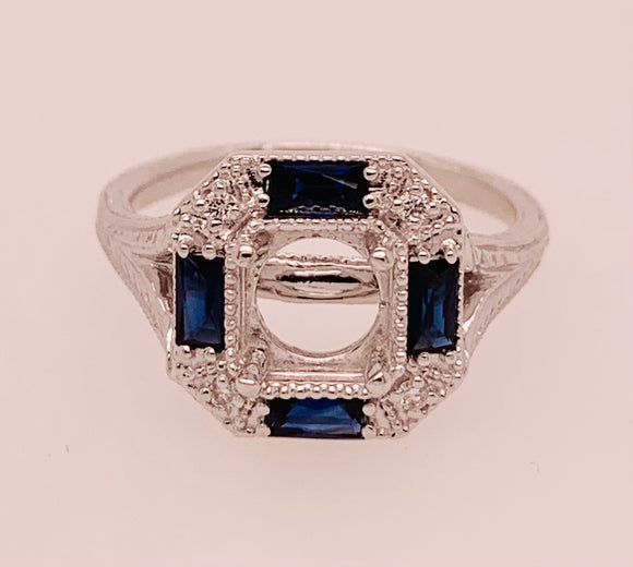 Diamond and Sapphire Semi Mount Ring By PeJay Creations