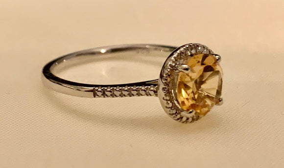 STERLING CITRINE RING