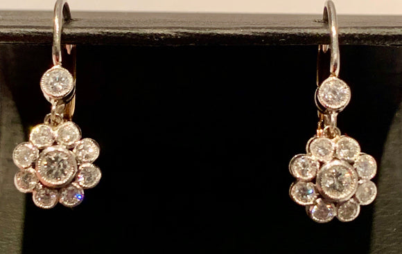 14K 1.35 Carat Total Weight Diamond Earrings