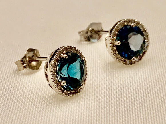 10K Gold Blue Topaz and Diamond Earrings
