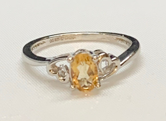 Sterling Silver Created Citrine Ring