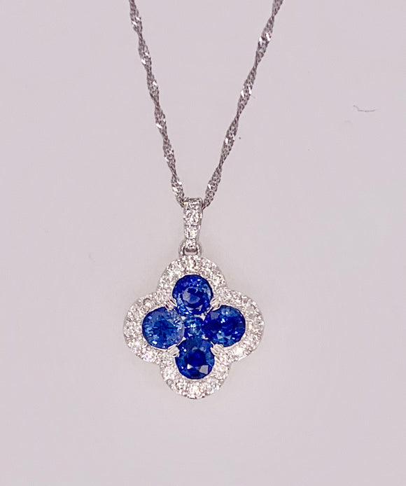 14K White Gold Diamond and Sapphire Pendant