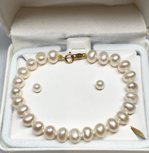 Freshwater Pearl Earrings and Bracelet Set
