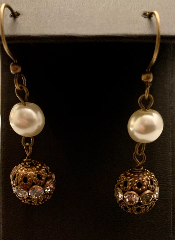 FASHION PEARL CRYSTAL BRONZE EARRING