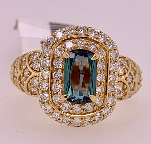 Genuine Alexandrite & Diamond Ring
