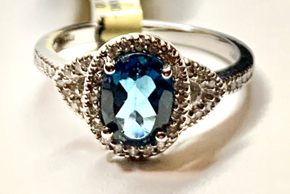 10K Blue Topaz & Diamond Ring