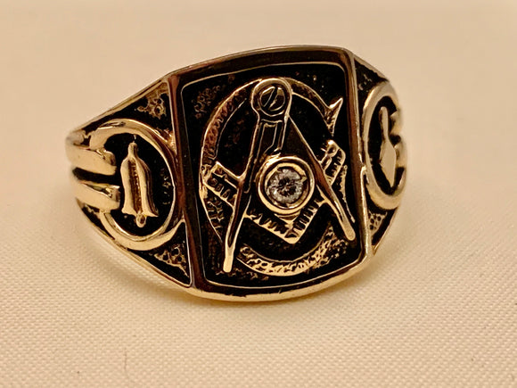GENTS ESTATE DIAMOND MASONIC RING