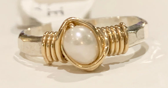 Earth Grace Hand Hammered and Freshwater Pearl Ring