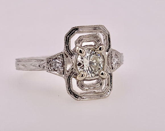 White Gold Diamond Ring by PeJay Creations