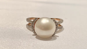 14K Rose Gold Pearl and Diamond Ring
