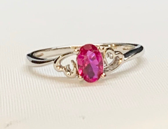 Sterling Silver Creative Ruby Ring