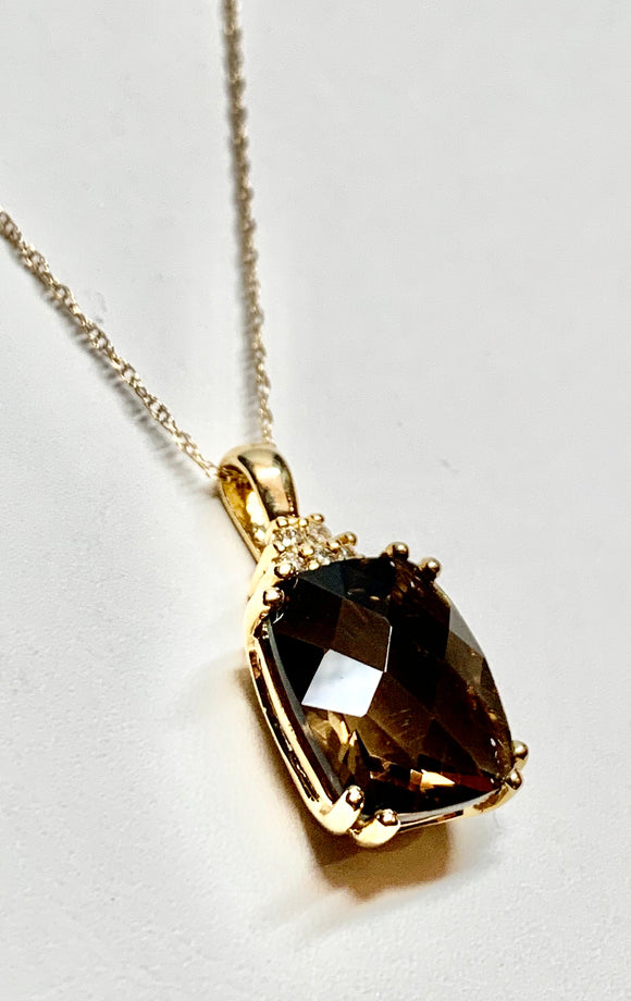 Smokey Quartz & Diamond Pendant