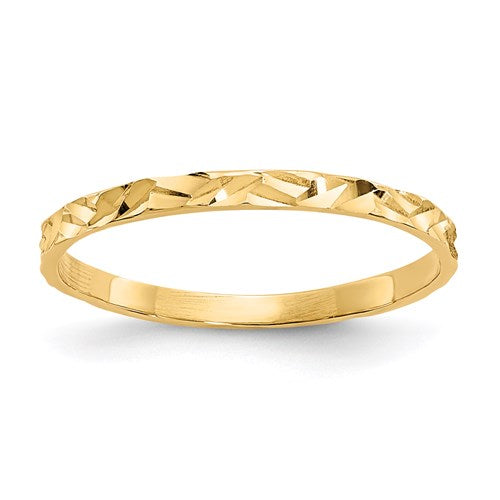 14K Diamond-Cut Zig Zag Design Band Childs Ring