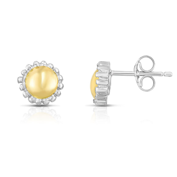18K Gold & Sterling Silver Round Stud Earrings