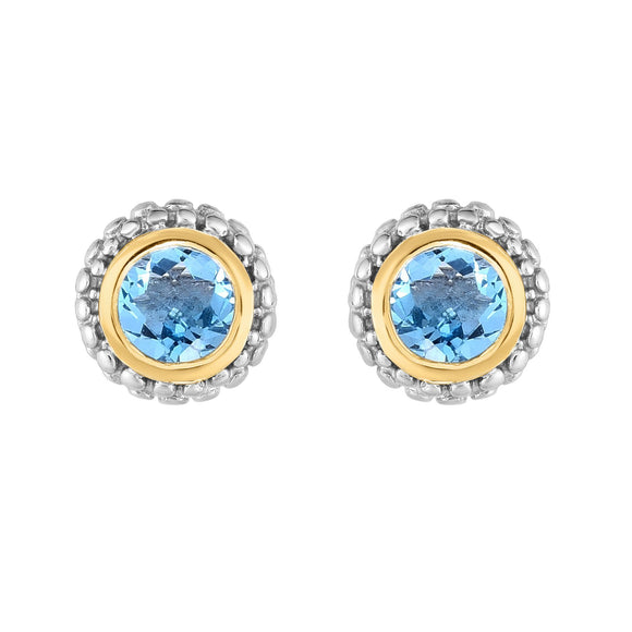 Sterling Silver & 18K Gold Popcorn Birthstone Stud Earrings