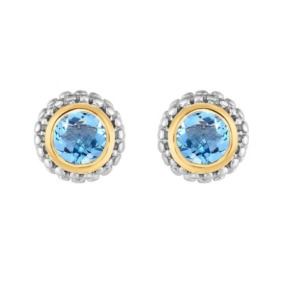 Phillip Gavriel Sterling/18kt Blue Topaz Earrings