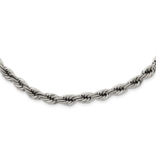 Stainless Steel Polished 6mm Rope Necklace 20