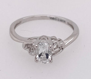 Sterling Silver Created White Topaz Ring.