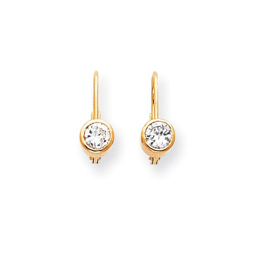 14k 4.5mm Cubic Zirconia Leverback Earring