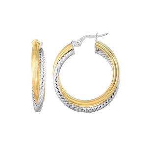 14kt Gold Yellow/White Finish Shiny/Textured Round Hoop Fancy Earring with Hinged Clasp