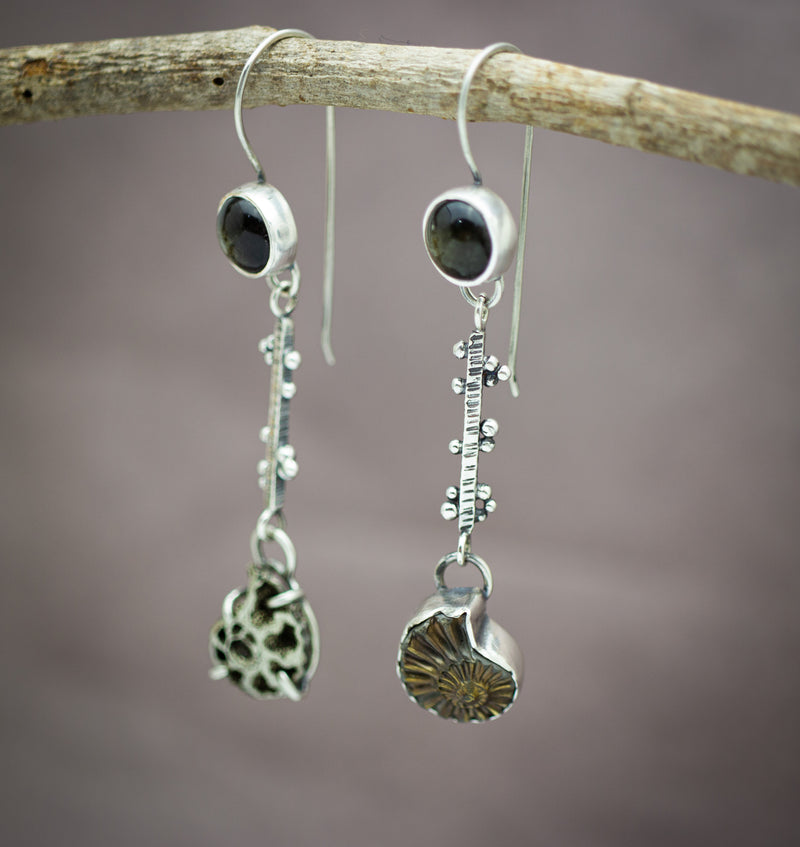Pyrite in Schist and Pyritized Ammonite Sterling Silver Earrings