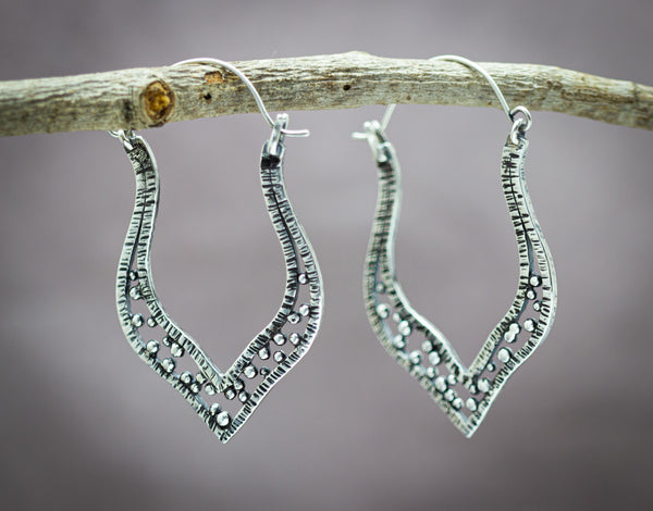 Boho Hoop Earrings Sterling Silver Textured and Hand Forged Granulation Earrings