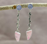 Pink Opal and Pink Druzy Earrings Sterling Silver