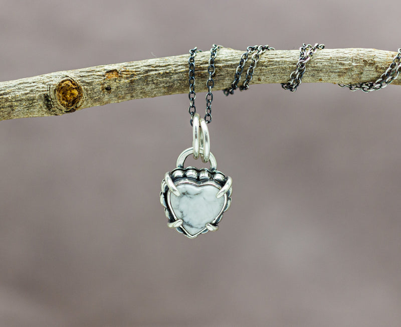 White Buffalo Heart Necklace Sterling Silver