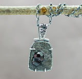 Garnet in Schist Pendant Sterling Silver Artisan Necklace One of a Kind
