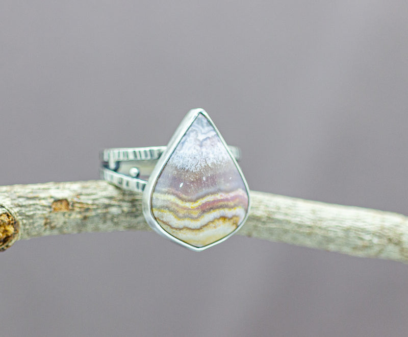 Flower Of Peach Agate Sterling Silver Ring