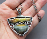 Prudent Man Agate and Agate Stalactite One of a Kind Sterling Silver Pendant Necklace