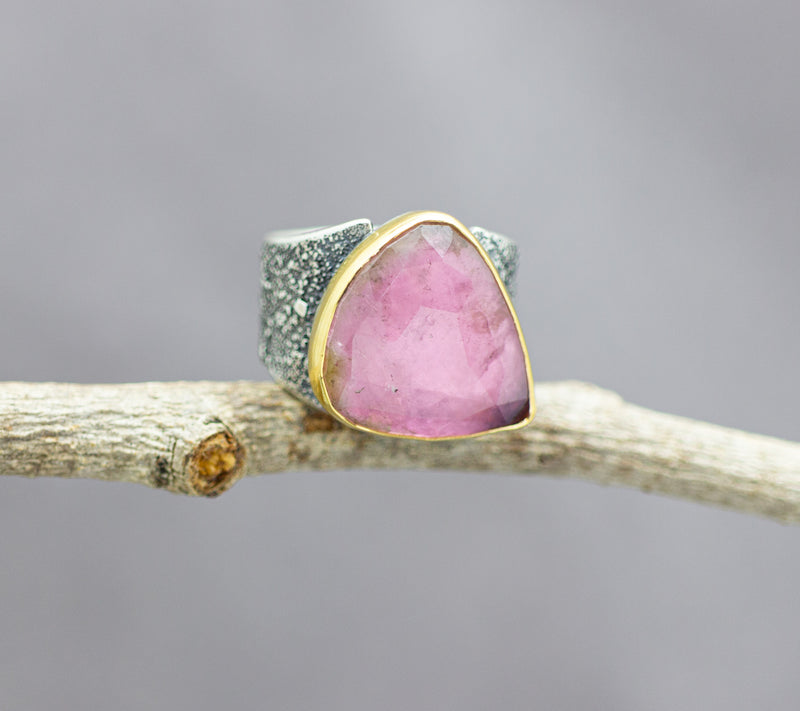 Pink Tourmaline 22k Gold And Sterling Silver Wide Band Ring