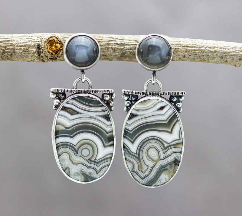 Laguna Agate and Gray Moonstone Dangle Earrings Sterling Silver