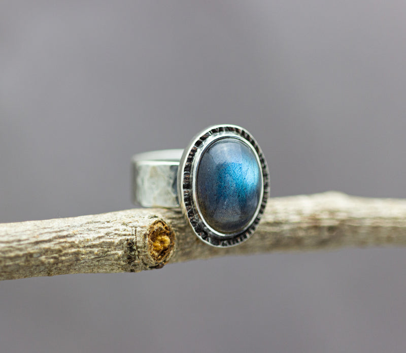 Labradorite Wide Band Ring Sterling Silver