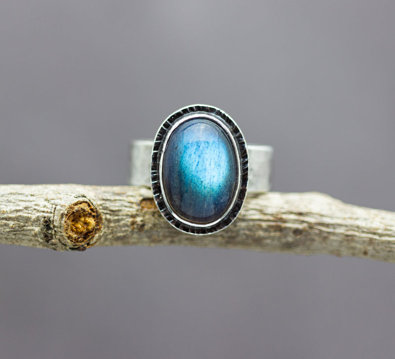 Labradorite Wide Hammered Band Sterling Silver Ring