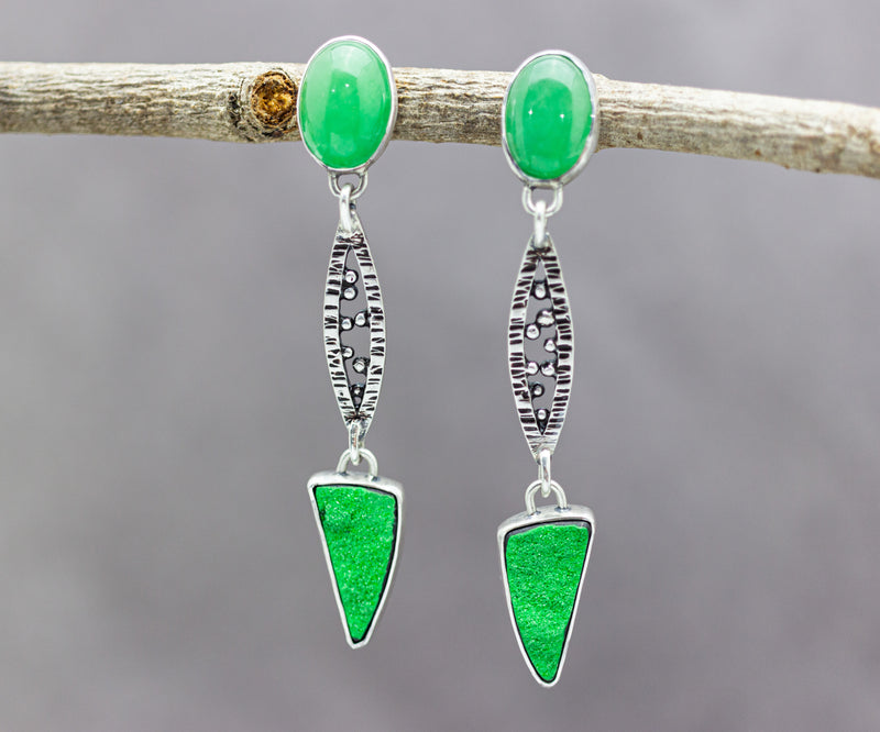Chrysoprase and Uvavorite Garnet Statement Earrings Sterling Silver