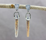 Agate Stalactite Earrings With White Druzy Sterling Silver
