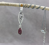 Pink Tourmaline Pod Necklace Sterling Silver