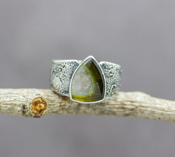 Green Watermelon Tourmaline Sterling Silver Wide Band Ring #3