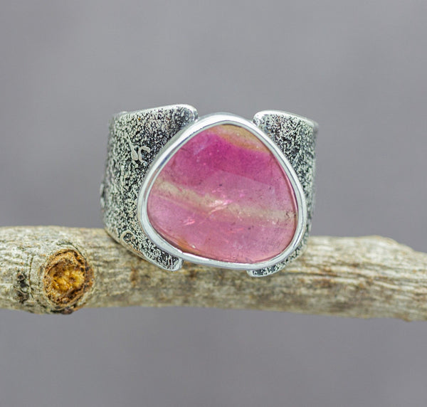 Pink Watermelon Tourmaline Sterling Silver Wide Band Ring #7