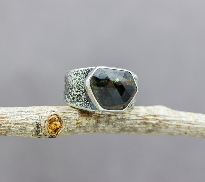 Green Watermelon Tourmaline Sterling Silver Wide Band Ring #2