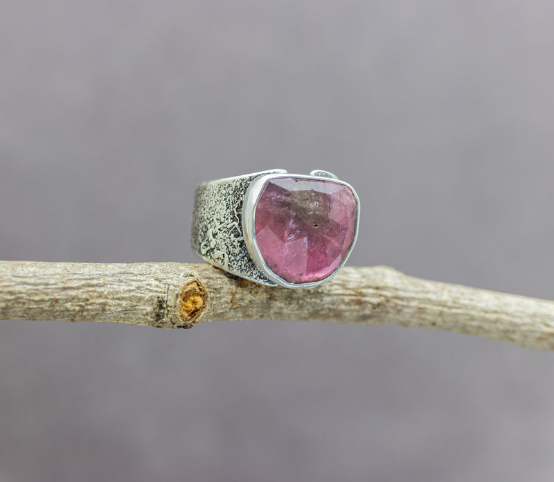 Pink Watermelon Tourmaline Sterling Silver Wide Band Ring #9