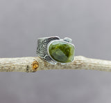 Green Watermelon Tourmaline Sterling Silver Wide Band Ring #5