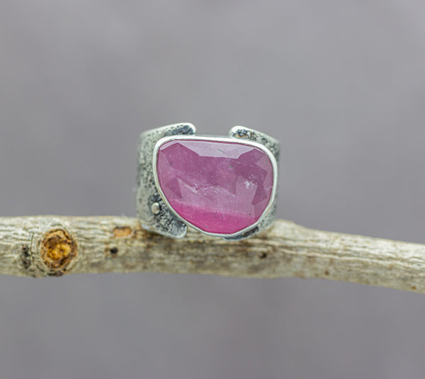 Pink Watermelon Tourmaline Sterling Silver Wide Band Ring #8