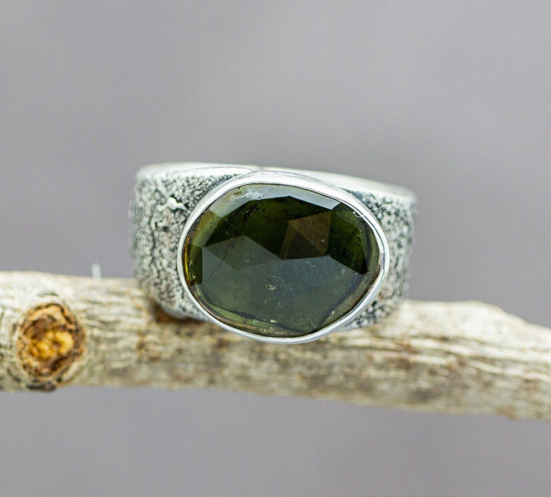 Green Watermelon Tourmaline Sterling Silver Wide Band Ring