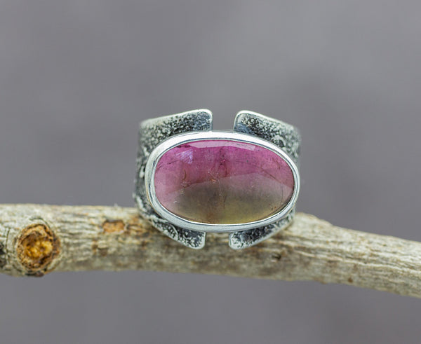Pink and Green Watermelon Tourmaline Sterling Silver Wide Band Ring #6
