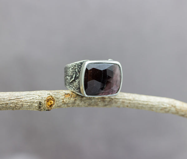 Pink and Brown Watermelon Tourmaline Sterling Silver Wide Band Ring #10