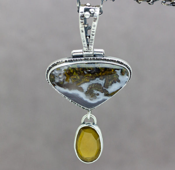 Citrine and Laguna Agate Sterling Silver Pendant Necklace One of a Kind Artisan Necklace